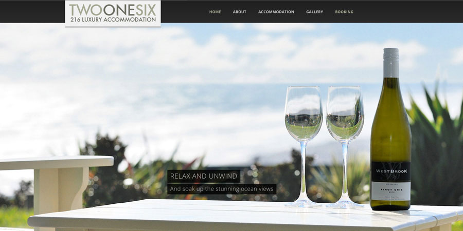 Web design Auckland 216 Luxury Accommodation website